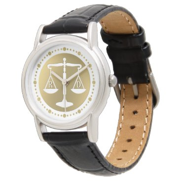 Luxury Golden Scales of Justice | Initials Gifts Watch