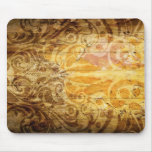 LUXURY GOLDEN SCROLL PATTERN VINTAGE SWIRLS DIGITA MOUSE PADS
