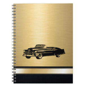 luxury golden  vintage classy old car personalized notebook