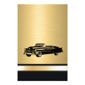 luxury golden  vintage classy old car personalized personalized stationery