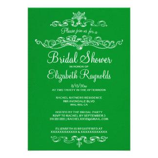 Luxury Green Bridal Shower Invitations Custom Announcements