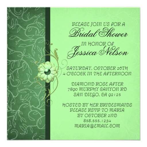 Luxury Green Damask Floral Shower Invite Custom Invitations