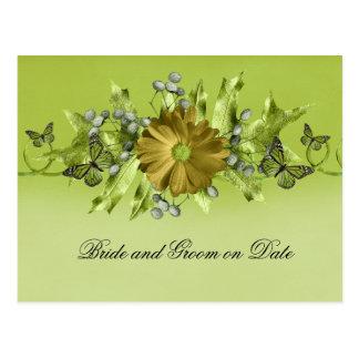 Luxury Green Fall Gerbera Leaves Save the date Postcard