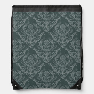 Luxury green floral damask wallpaper drawstring backpack