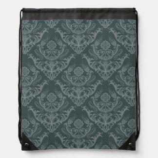 Luxury green floral damask wallpaper drawstring backpack
