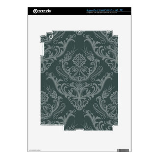 Luxury green floral damask wallpaper iPad 3 skin