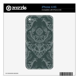 Luxury green floral damask wallpaper iPhone 4 skins