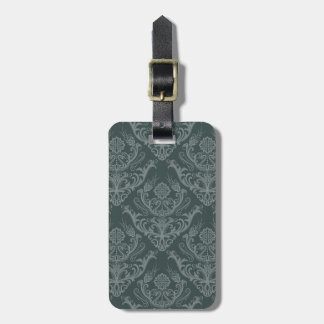 Luxury green floral damask wallpaper tag for luggage