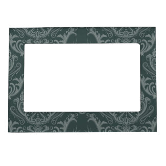 Luxury green floral damask wallpaper magnetic photo frame