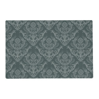 Luxury green floral damask wallpaper laminated placemat