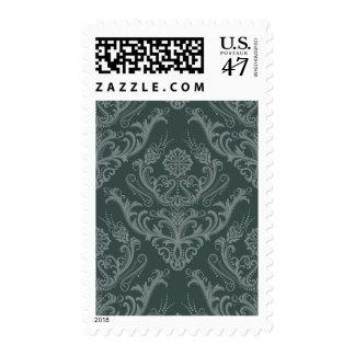 Luxury green floral damask wallpaper postage stamp