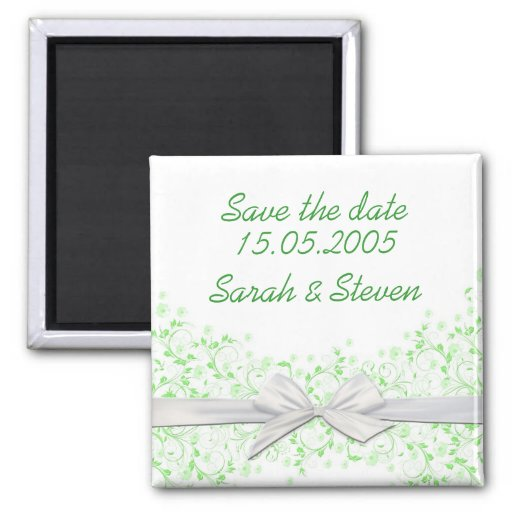 Luxury Green Floral Swirls Ribbon Save the date Refrigerator Magnets