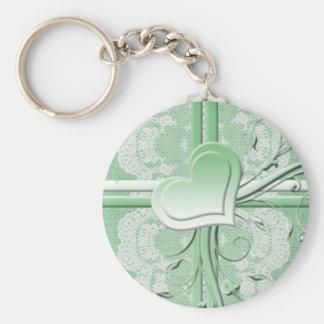 Luxury Green Lace Heart Burlap Keychain Key Chain