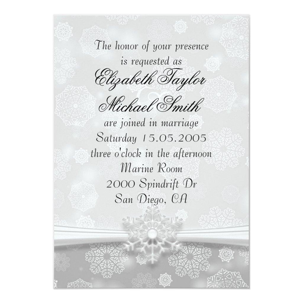 Luxury Grey Snowflakes Winter Wedding Invite