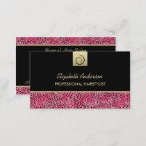 Luxury Hairstylist Pink Cheetah Print Hair Salon Business Card