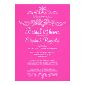 Luxury Hot Pink Bridal Shower Invitations Announcements