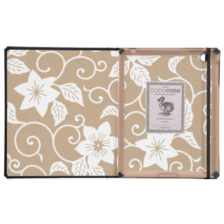 Luxury iPad Case - Camel Brown Floral Pattern