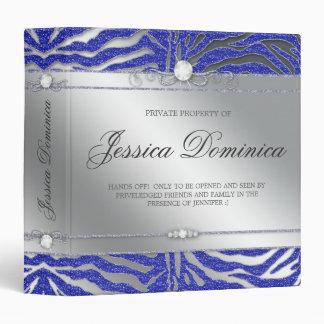 Luxury Jewelry Binder Zebra Sparkle Blue Silver