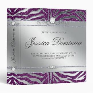 Luxury Jewelry Binder Zebra Sparkle Purple Silver
