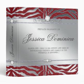 Luxury Jewelry Binder Zebra Sparkle Red Silver