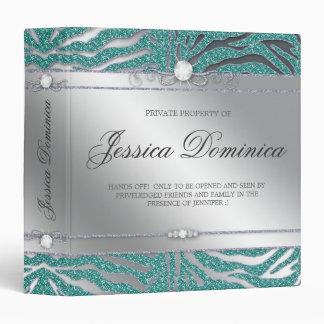 Luxury Jewelry Binder Zebra Sparkle Teal Silver
