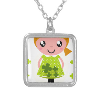 Luxury kids illustration green / tshirts silver plated necklace