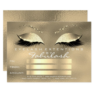 Luxury Lashes Glass Gold Makeup Certificate Gift Card