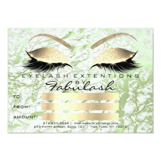 Luxury Lashes Gold Makeup Certificate Gift Marble Card