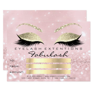 Luxury Lashes Gold Pink Makeup Certificate Gift Card