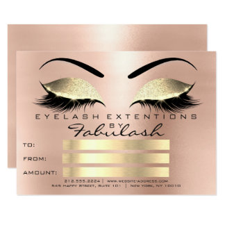Luxury Lashes Rose Pink Makeup Certificate Gift Card