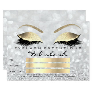 Luxury Lashes Silver Gold Makeup Certificate Gift Card