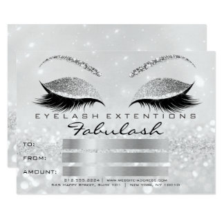 Luxury Lashes Silver Gray Makeup Certificate Gift2 Card