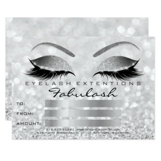 Luxury Lashes Silver Gray Makeup Certificate Gift Card