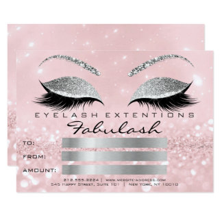 Luxury Lashes Silver Pink Makeup Certificate Gift2 Card