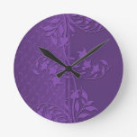 Luxury Lavender Damask Swirls Clock Round Wall Clocks
