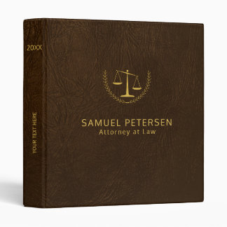 Luxury lawyer office brown leather look and gold binder