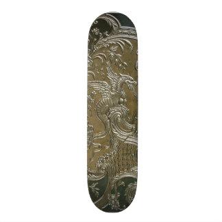 LUXURY LEATHER Gilded Silver Dragon Skateboard