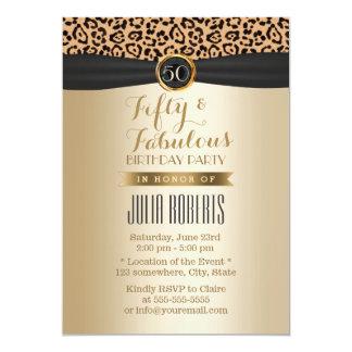 Luxury Leopard Print Black Ribbon Gold Fabulous 50 Card