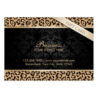 Luxury Leopard Print & Damask Gift Certificates Large Business Cards (Pack Of 100)