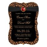 Luxury Leopard Print Ruby Gemstone Wedding Card