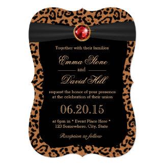 """Luxury Leopard Print Ruby Gemstone Wedding 5"""" X 7"""" Invitation Card"""