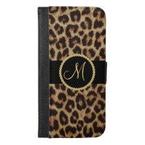 Luxury Leopard Spots with Monogram Bling iPhone 6/6s Plus Wallet Case