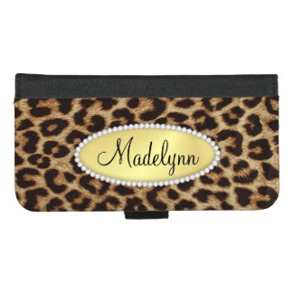 Luxury Leopard Spots with Monogram Bling iPhone 8/7 Plus Wallet Case