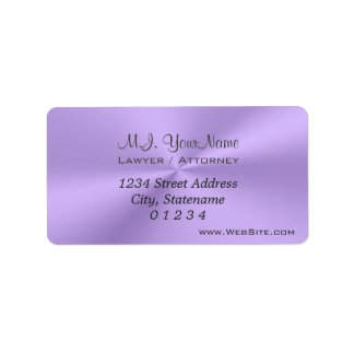 Luxury lilac chrome effect Lawyer / Attorney Label