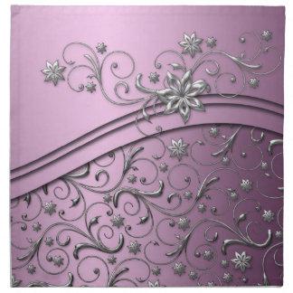 Luxury Lilac Damask Swirls Napkins