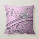 Luxury Lilac Damask Swirls pillow Throw Pillow