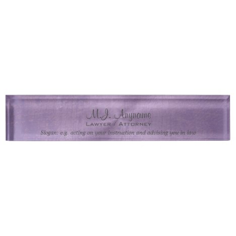 Luxury lilac leather effect Lawyer / Attorney Desk Name Plate