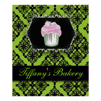 Luxury Lime Green Cupcake Bakery Marketing Poster