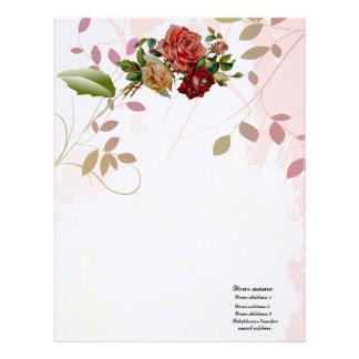 Luxury linen Rose  flourish floral Thank you Paper Letterhead