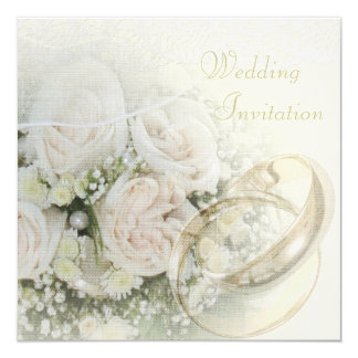 Luxury Linen Wedding Bands, Roses, Doves & Lace Card